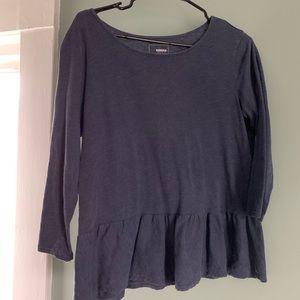 Blue peplum long sleeve tee shirt